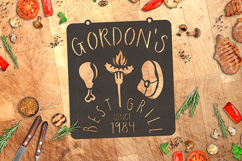 Personalized Metal Grill Sign, Custom BBQ Gift