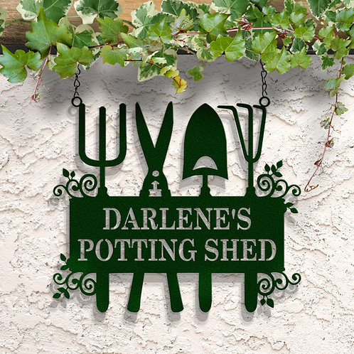 Garden Tool Sign, Hanging Metal Garden Sign