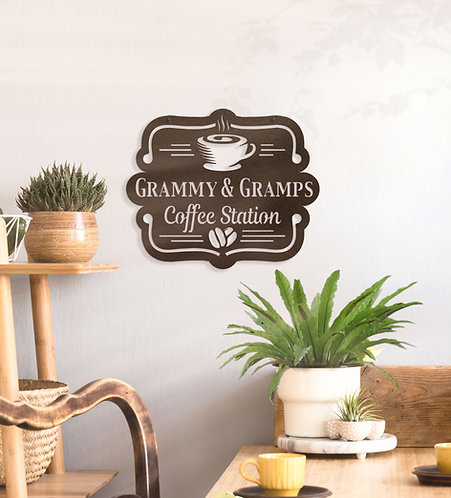 Custom Coffee Station Sign ~ Personalized Metal Coffee Sign