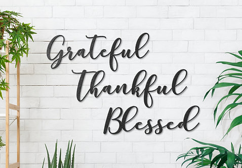 Grateful Thankful Blessed Script Word Signs, Wall Decorations