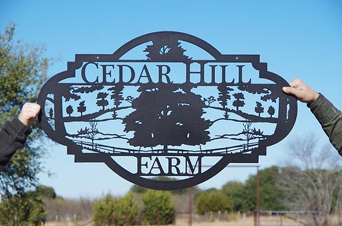 Custom Farm Sign with Trees and Fences