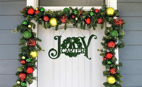 JOY Custom Metal Door Hanger Wreath Sign