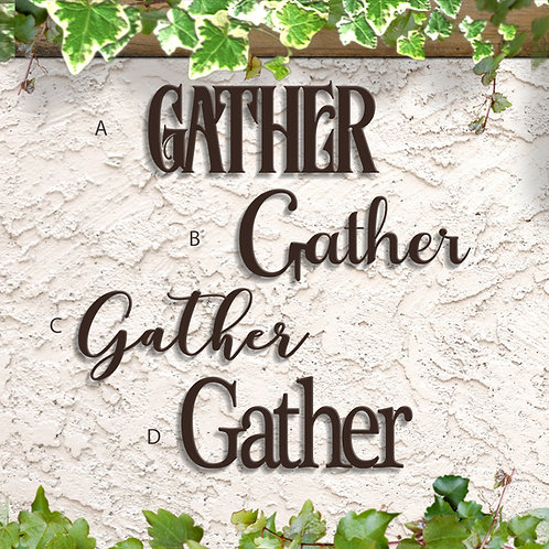 Gather Word Sign, Metal Wall Decorations
