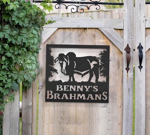 Brahman Bull Metal Farm Sign