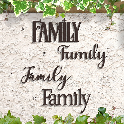 Family Word Sign, Family Metal Script Sign