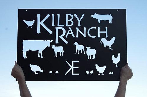 Custom Livestock Silhouette Metal Ranch Sign