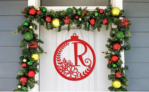 Poinsettia Ornament Framed Family Initial  | Christmas Letter Door Sign
