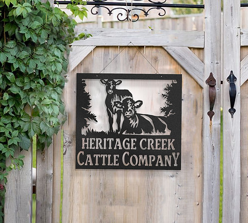 Breeding Cattle Metal Farm Sign