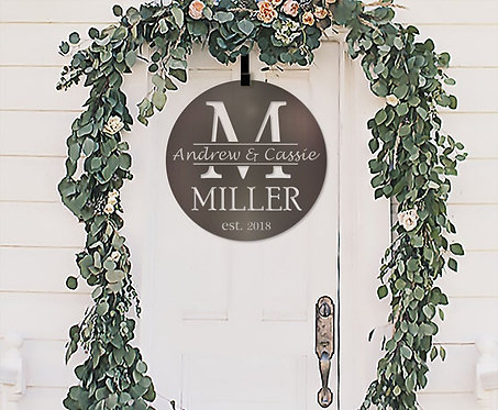 Spring Metal Custom Sign | Last Name Monogram | Metal Framed Family Initial | Sp