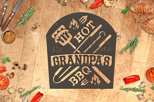 Your Name Personalized Grilling Sign, Metal Outdoor Cooking Sign