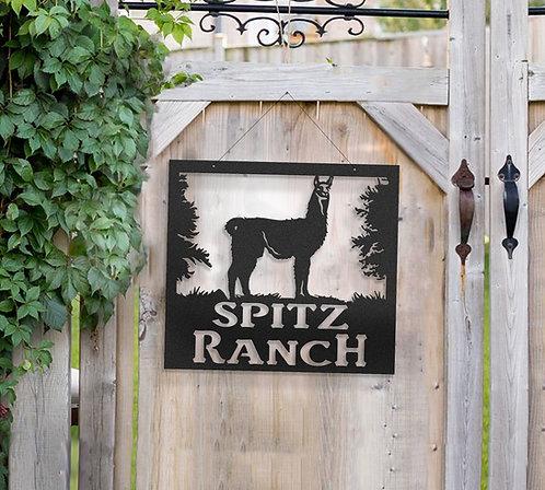 Llama Metal Farm Sign