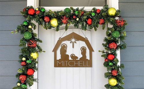 Nativity Metal Front Door Hanger Sign