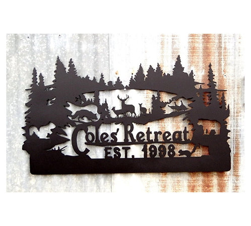 Family Name Custom Metal Wildlife Sign, Personalized Deer Sign LMW-16-08, Wildli