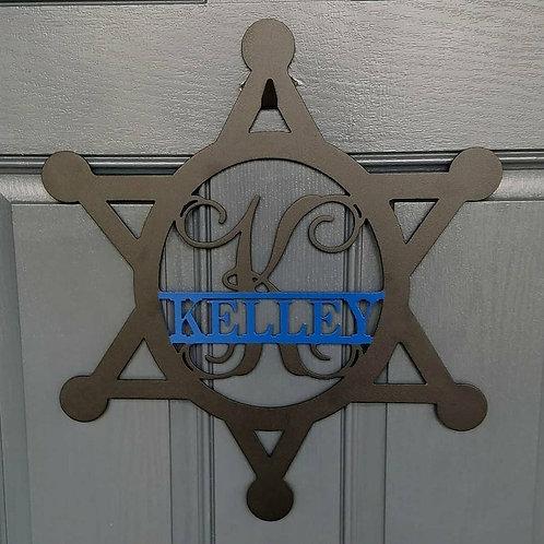 Police Star Split Monogram | Metal Monogram | Framed Family Initial | Letter Doo
