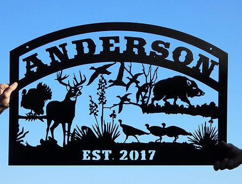 Custom Metal Personalized Name with Wildlife Scene