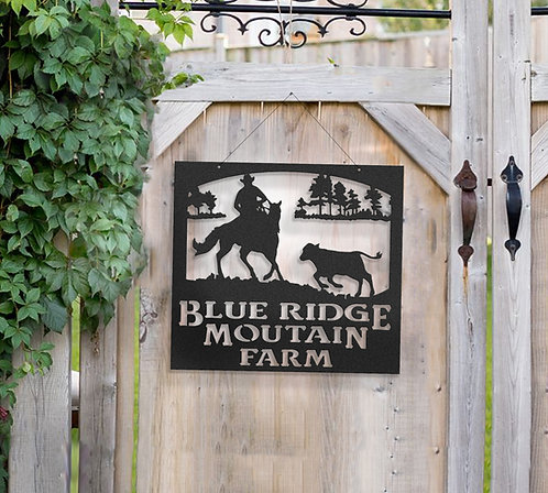 Cutting Horse Metal Farm Sign