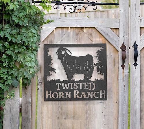 Angora Goat Metal Farm Sign