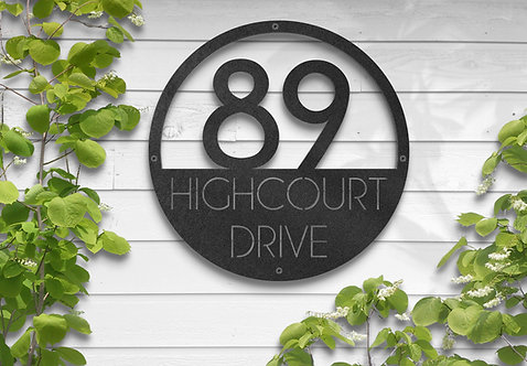 Circle Address Sign, Custom Metal Business Sign