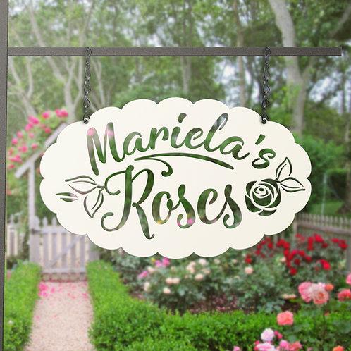 Custom Metal Hanging Rose Garden Sign