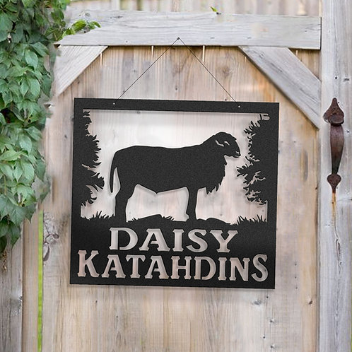 Katahdin Sheep Metal Farm Sign
