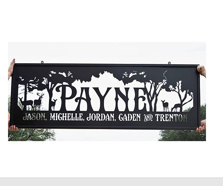 Custom Steel Family Sign with Trees and Deer