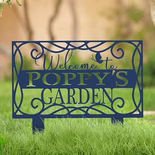 Grandpas Garden Custom Metal Yard Stake Sign, Gift for Grandpa