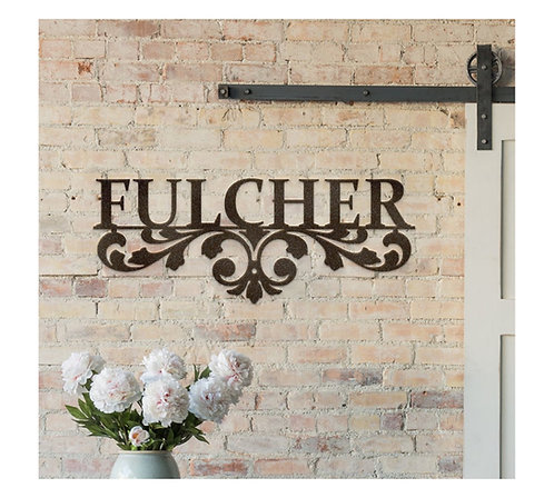 Classy Scroll Custom Last Name Metal Sign
