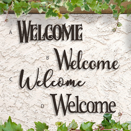 Metal Welcome Sign, Welcome Script, Indoor or Outdoor Welcome Sign