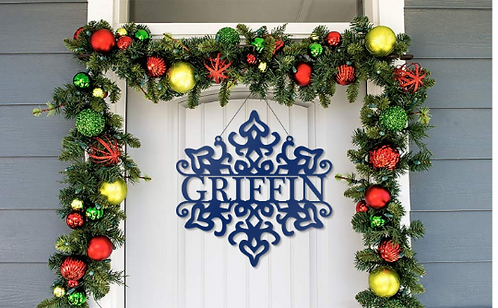 Snowflake Name Metal Christmas Door Hanger Decor Sign