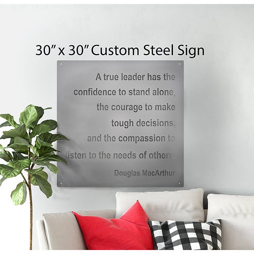 Large Square Custom Metal Quote Sign 30 inches