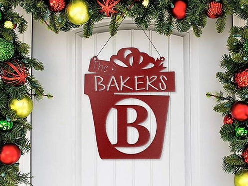 Decorative Family Metal Steel Christmas Present Sign