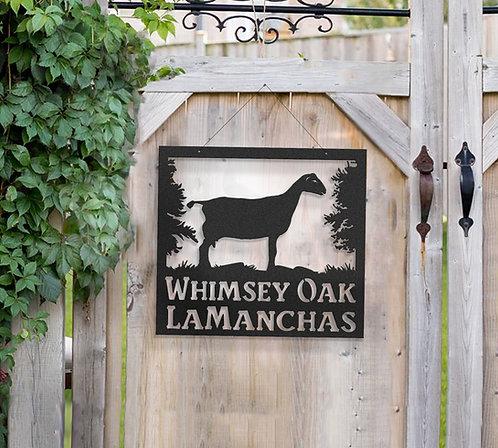 Lamancha Dairy Goat Metal Farm Sign