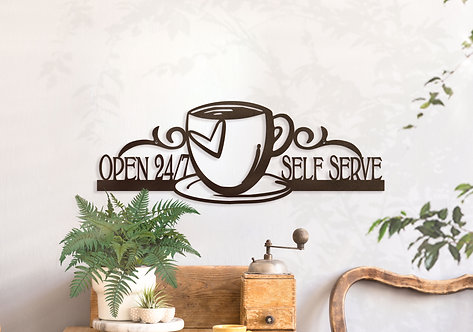 Coffee Bar Sign ~ Home Coffee Station Always Open