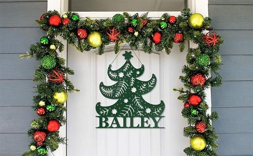 Family Classy Christmas Tree Door Hanger