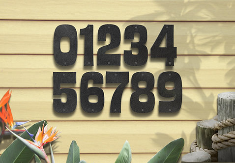 "Metal Address Numbers, 6"" Tropical Font"