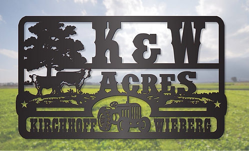 Hereford Cattle and Tractor Farm Sign LMW-16-63