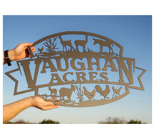 Custom Metal Farm Sign, Personalized Farm Animal Sign LMW-16-10