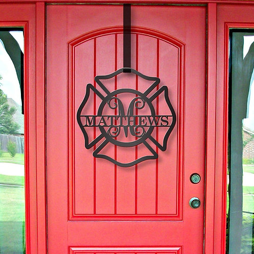 Fireman Metal Name | Metal Monogram | Framed Family Initial | Letter Door Sign