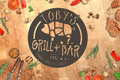 Custom Bar & Grill Metal Sign, Personalized BBQ Gift
