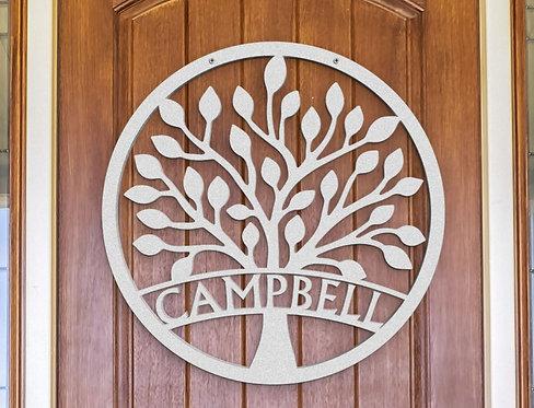 New Family Tree Metal Door Sign