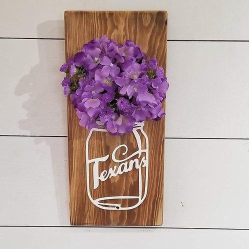 Tarleton State University Metal Mason Jar on Wood Plank with Flowers