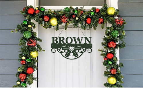 Winter Holly Metal Name Sign | Christmas Holly Metal Door Sign