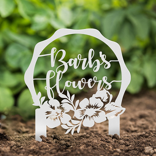 Flower Bed Decoration, Personalized Metal Sign with Stakes