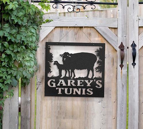 Tunis Sheep Metal Farm Sign