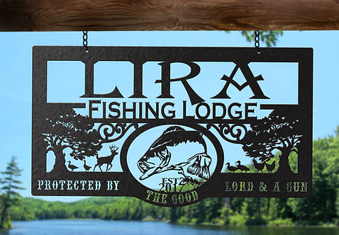 Custom Fishing Lodge Metal Sign