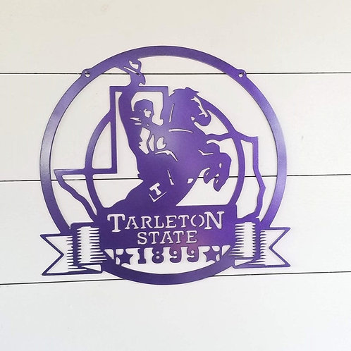 Tarleton State University Metal Texan Rider Sign