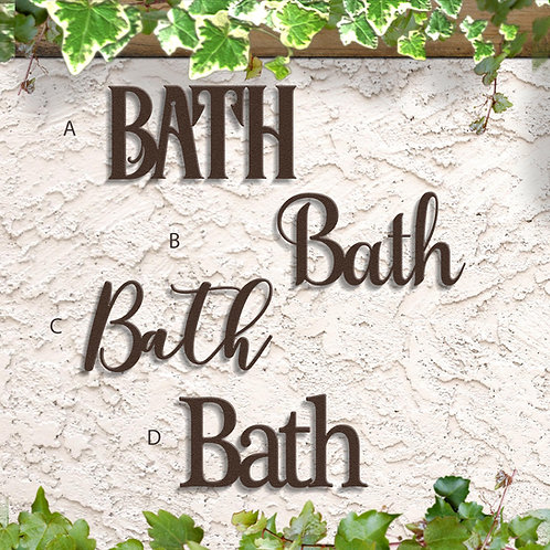 Metal Bath Sign, Bathroom Word Sign