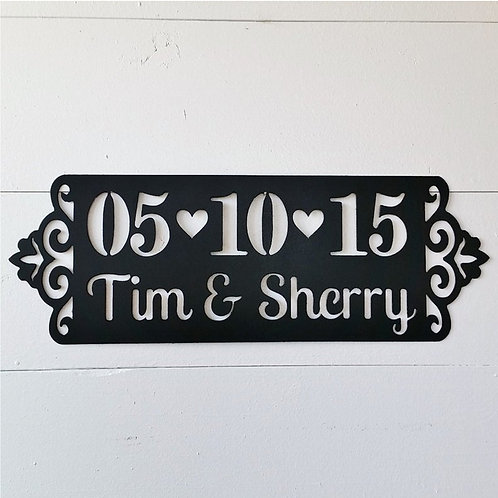 Metal Name Anniversary or Wedding Sign