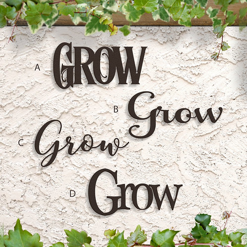 Grow Metal Script Sign, Garden Signs