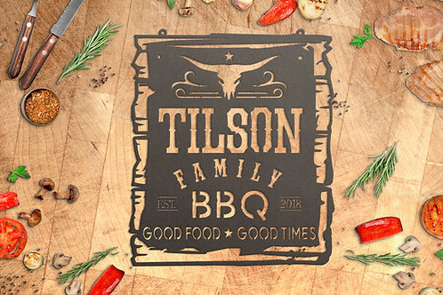 Custom Family BBQ Sign, Outdoor Kitchen Decoration